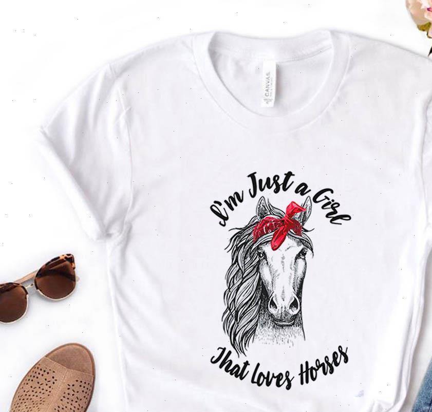 Я просто девушка, которая любит лошадей бандана печать футболка хлопок повседневная смешная футболка подарок для леди yong девушка топ