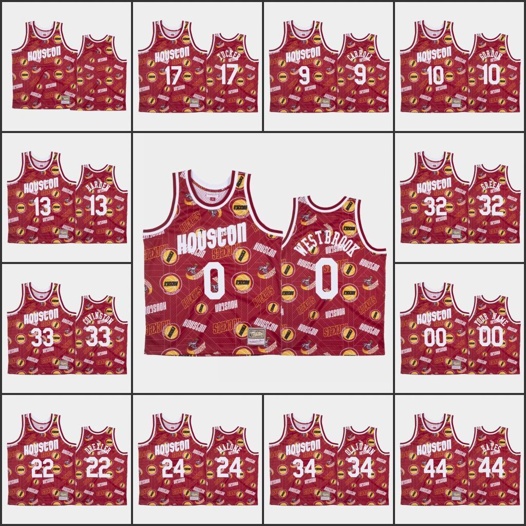 NCAA Men Houston.RazziJames.Harden Russell Westbrook Eric Gordon P.J. Tucker Clyde DrexlerNBA Red Custom Tear Up Pack Je