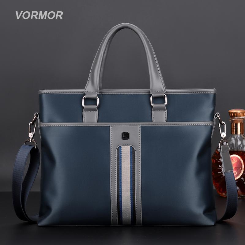 VORMOR 2020 New Brand Men Handbag Fashion Zipper Business Male Shoulder Bag 14 Inches Briefcases Bags Q0112