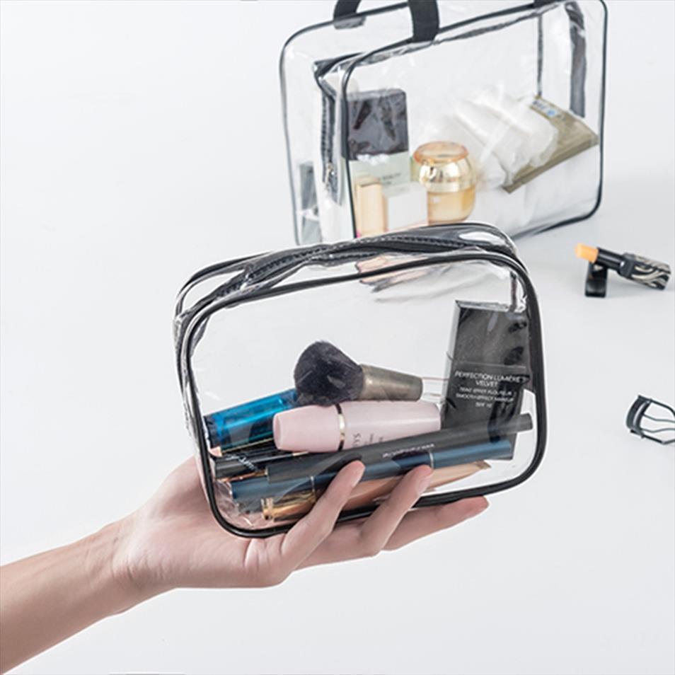 Sac à l'organisateur PVC Femmes Storage Voyage Maquillage Machine à glissière Pochette Transparent toilette cosmétique Hommes de lavage Sac Beauty Up Case EPTTI