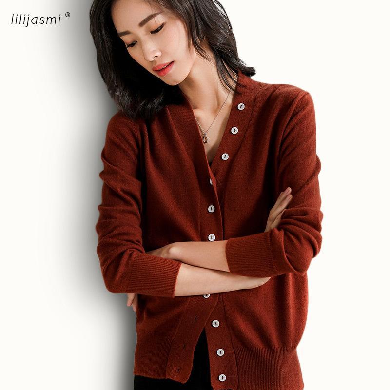 Boutons déco Cardigans en Laine 100% Mode féminine Cardigan en maille 4 couleurs Sweater Automne Hiver Casual Vente Veste 201016
