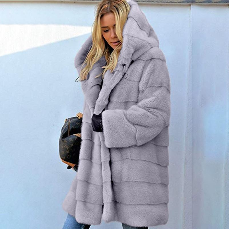 Designer Women Faux Fur Jackets Fashion Hooded Faux Fur Coat Long Sleeve Stitching Coat Hot Sell New klw5314
