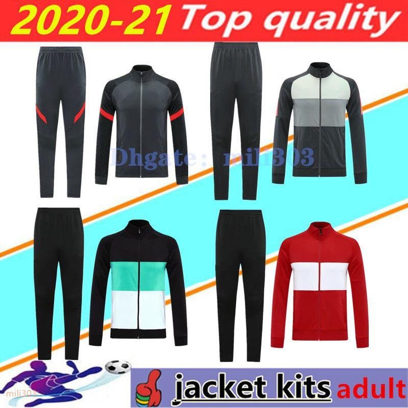 20 21 men soccer jacket set tracksuit Survetement 2020 2021 Chandal del Men's long sleeve zipper jacket football training suit jogging