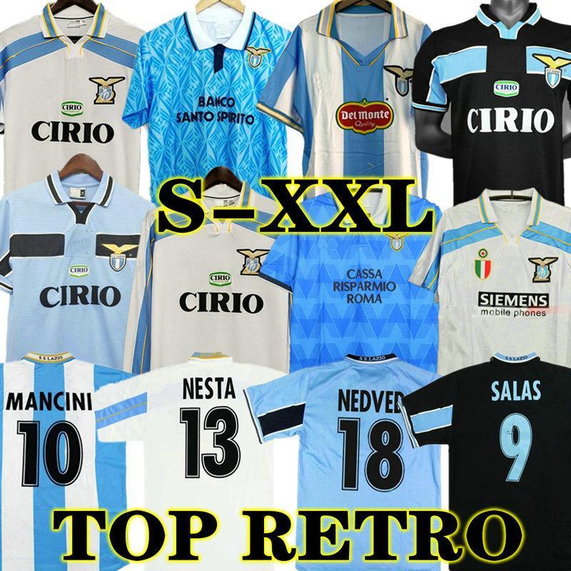 LAZIO RETRO 1989 1990 SimeOne Fussball Jerseys Vintage 91 92 99 00 01 Nedved Salas Gascoigne Klassisches Zuhause Fußball Hemd Veron Crespo