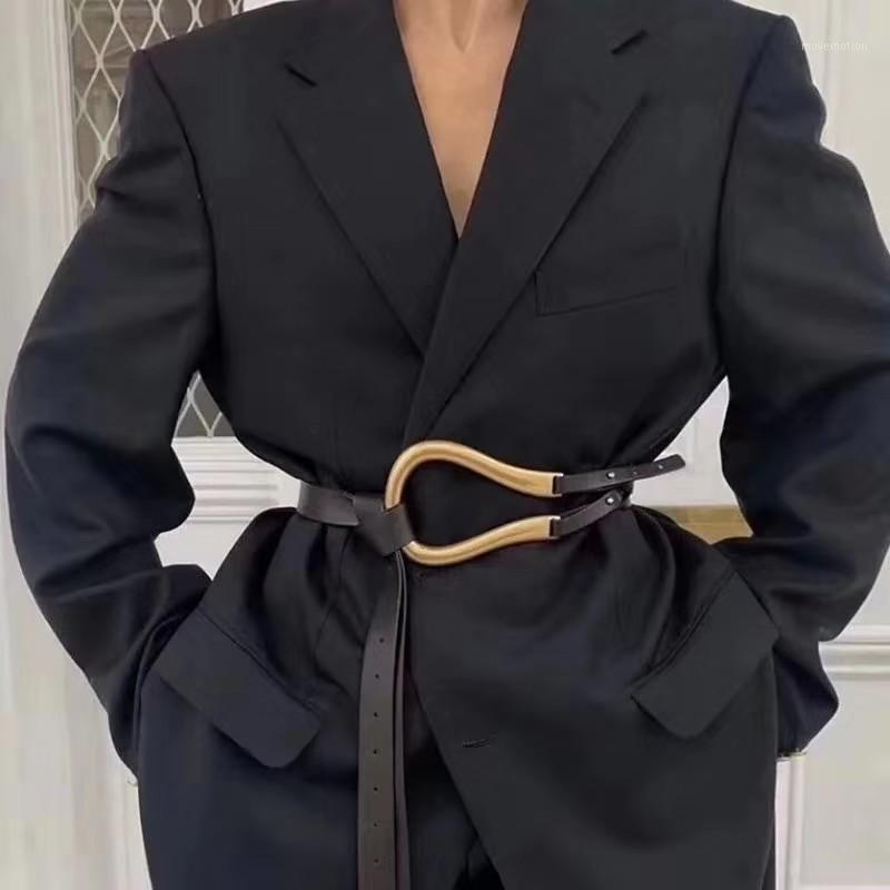 New Fashion Morbido infezione cinture in pelle da donna Big in lega fibbia sottile doppio strato in vita camicia cintura annodata cintura a vita lunga cinture 20201