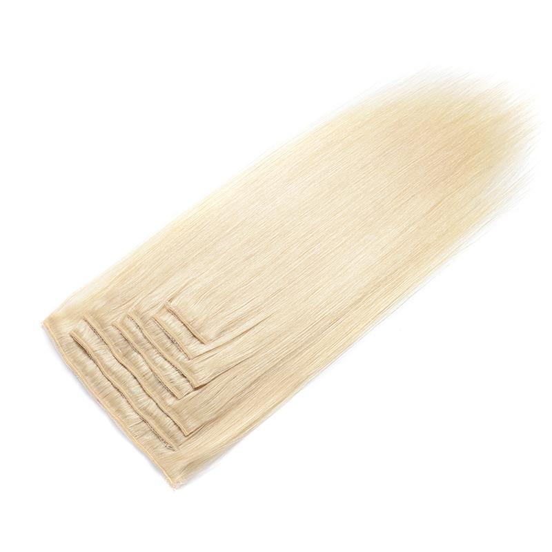 Клип люди волос в расширениях волос Бразильского Деве прямого зажим в выдвижении волос 613 людей Светлого цвета 16-22 дюйма
