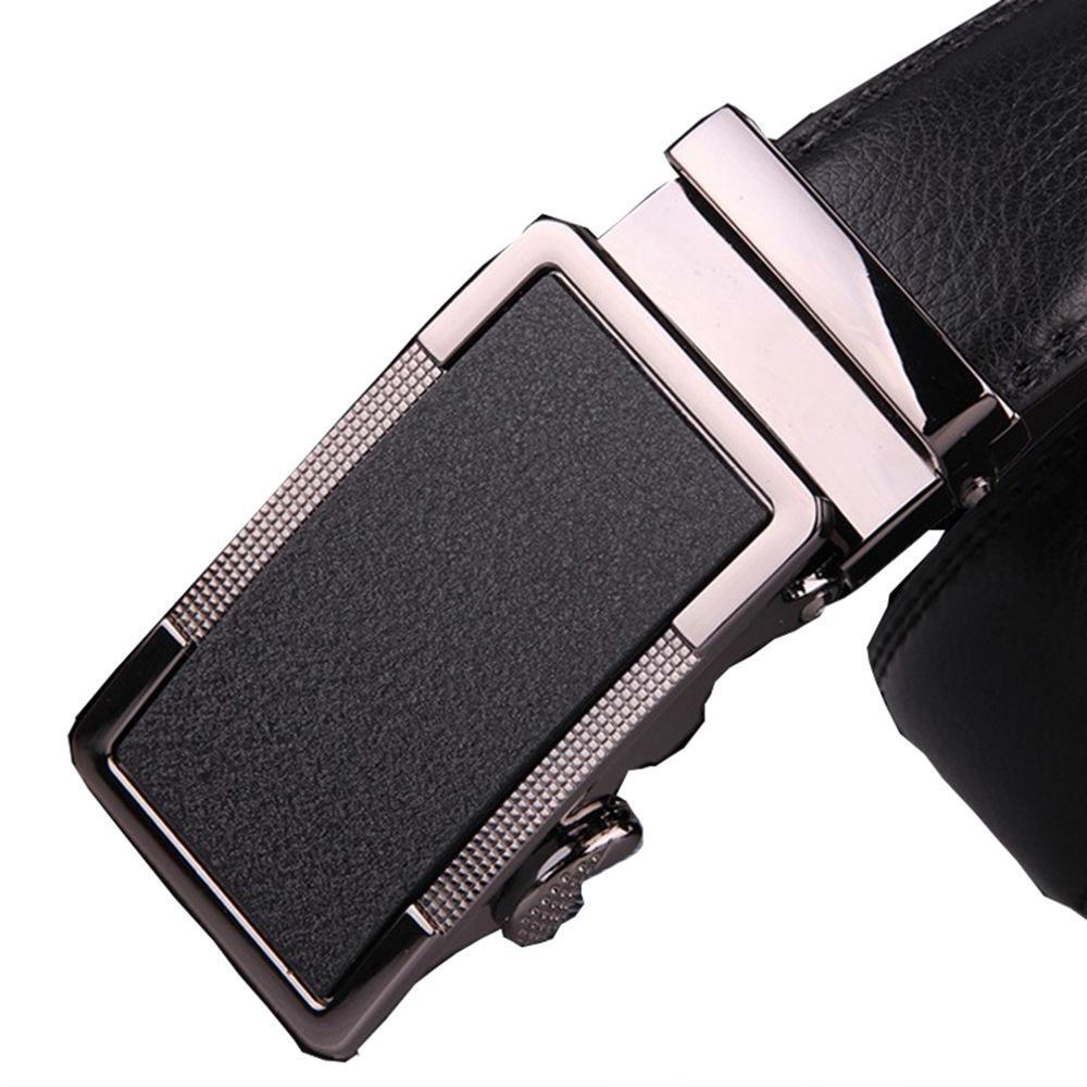130 140 150 160 170 180 190 200 cm Talla grande Cinturón para hombres con hebilla automática de metal Real Cintas de vaca de cuero genuino real Negro Marrón