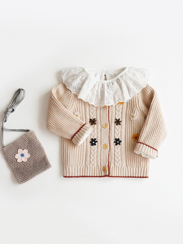 2021 Children's Clothing Spring and Autumn Girls Knitted Cardigan Kids Girls Beautiful Cotton Hand-embroidered Sweater Jackets