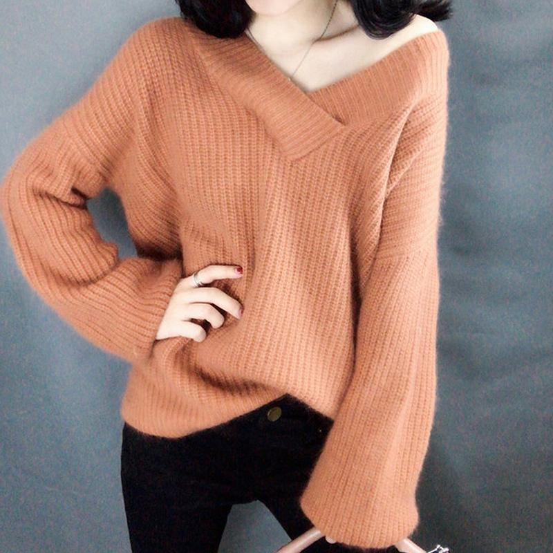 V-neck Long Sleeve Pullover Sexy Women Spring Autumn T-SweaterLoose Soft Solid Color Female Outerwear Streetwear Ladies Sweater