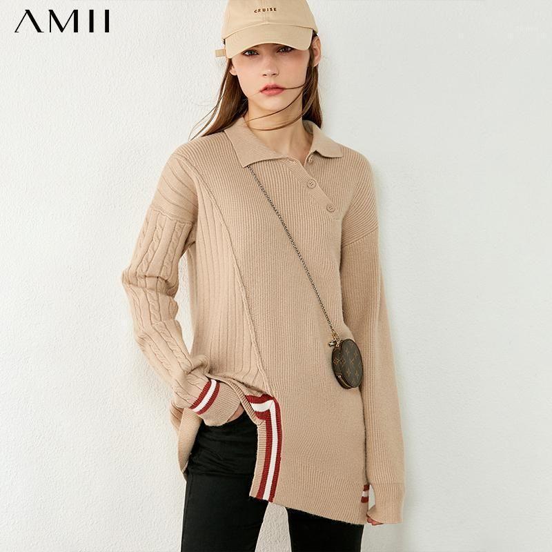 AMII Minimalismo Otoño Invierno Suéteres para Mujeres Moda Solapa Sujetadores empalmados para mujeres Tops de jersey femenino 120406001