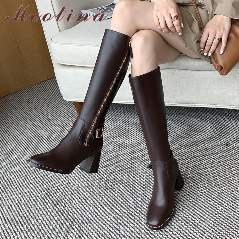 Meotina Buckle Echtes Leder Heel Lady Frauen-Knie-hohe Schuhe quadratische Zehe-Zip-Block Heels Langer Stiefel Schwarz 33-40210