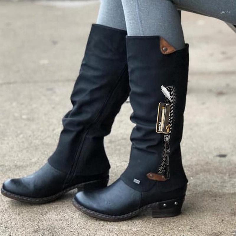 NOUVEAU Mode Marque Chaussures d'hiver Femme Bottes Basic Mesdames Bottes Haute Bottes Zip Plate-forme Femme Chaussures Automne Warm1