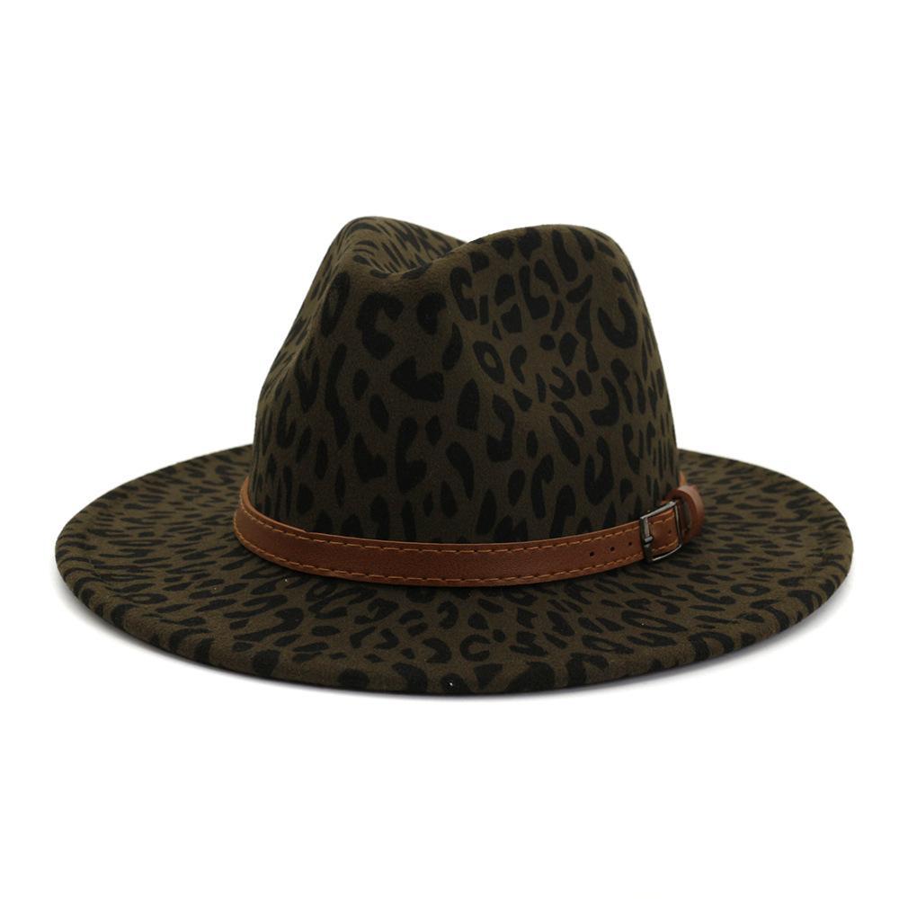 الشتاء أزياء الاتجاه السيدات الصوف ليوبارد طباعة فيدورا قبعة عارضة واسعة بريم قبعة الجاز الرسمية