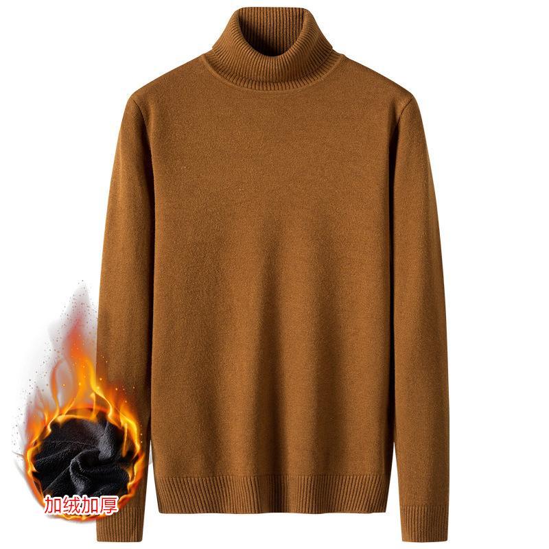 Invierno, felpa y espesado, color sólido, manga larga, delgado, altura, tendencia, jersey coreano, suéter de fondo ocasional