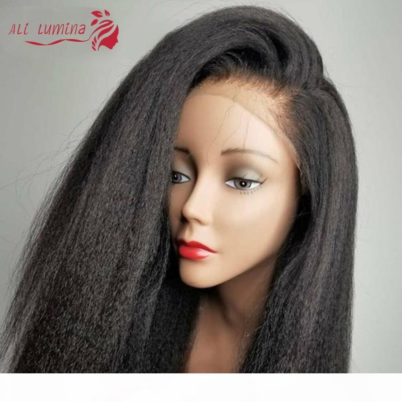 13x4 kinky прямой парик кружевной фронта Humna волос парики предварительно сорванные ременные волосы с ребенком yaki 4x4 кружевные парики кружева