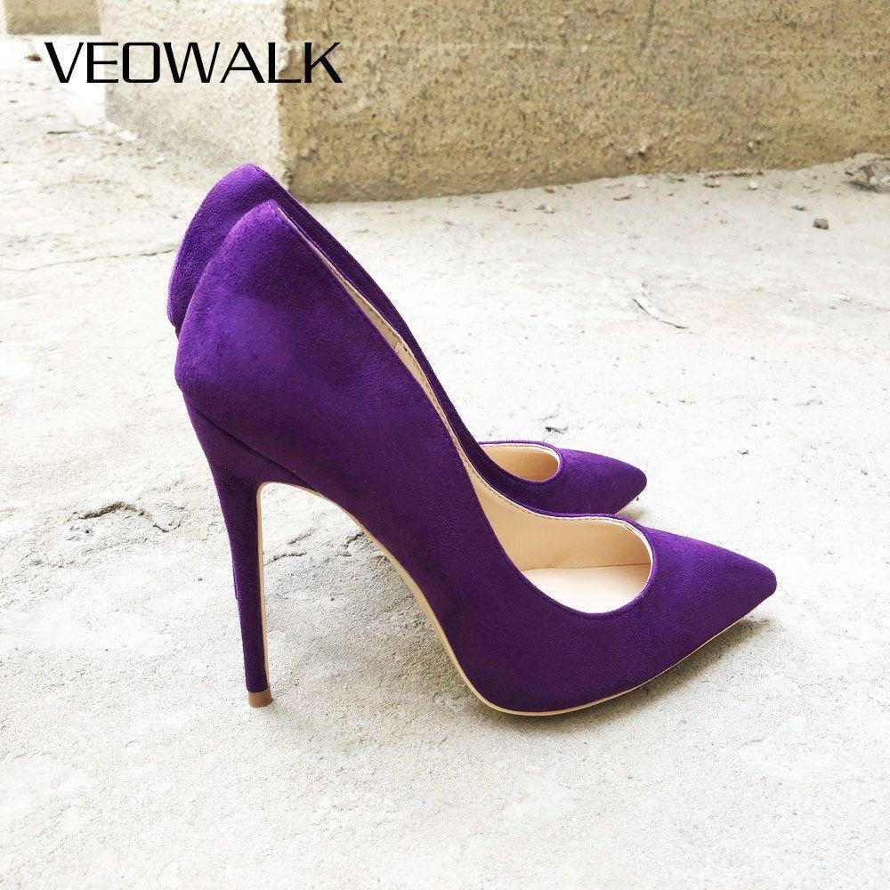 Veowalk Deep Purple Women Flock Pointed Toe High Heels Fashion Ladies Slip on Stiletto Pumps Sexy Woman Party Wedding Shoes LJ201112