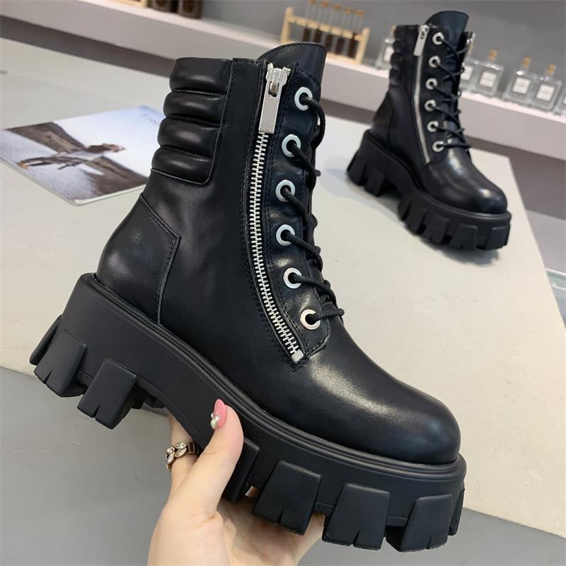 Черный лодыжки женщин сапоги мотоцикла осени Узелок Zipper из натуральной кожи платформы обувь женщина Круглый Toe Zapatos De Mujer 2020