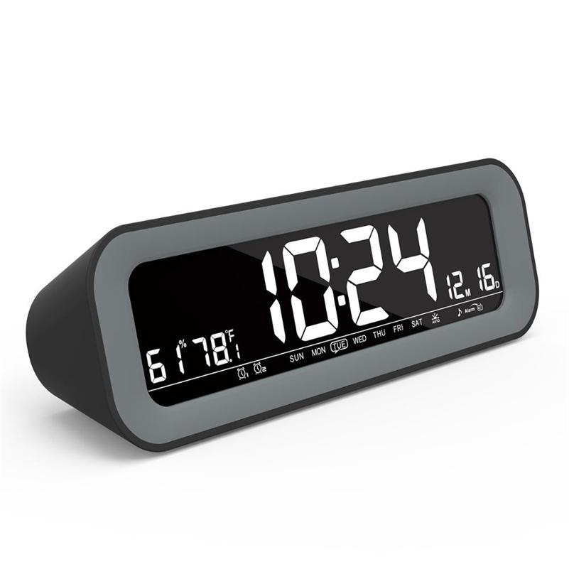 Digital Clock With LED Auto Backlight FM Radio Clock with Timer and Temperature Large Display Calendar Clock with Dual Alarms LJ201211