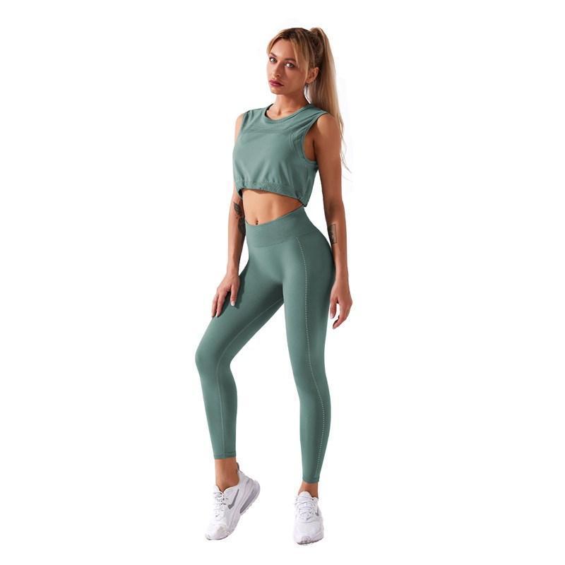 Esecuzione di yoga set 2021 Nuovo set di sport senza saldatura rapido Set da donna con coulisse con coulisse Canotta senza maniche Top + Vita alta Elastico LEGGING LEGGING