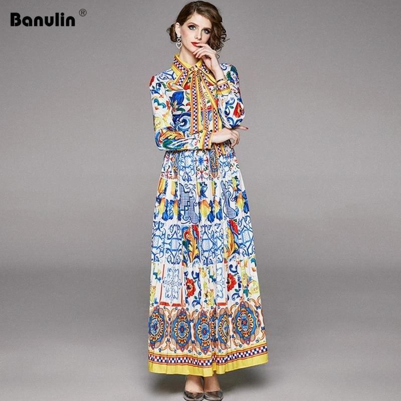 Banulin 2020 Spring Fashion Designer Maxi robe à manches longues pour femmes Boho coloré fleur Bow Imprimer vacances Robe longue plissée sans bretelles de la #