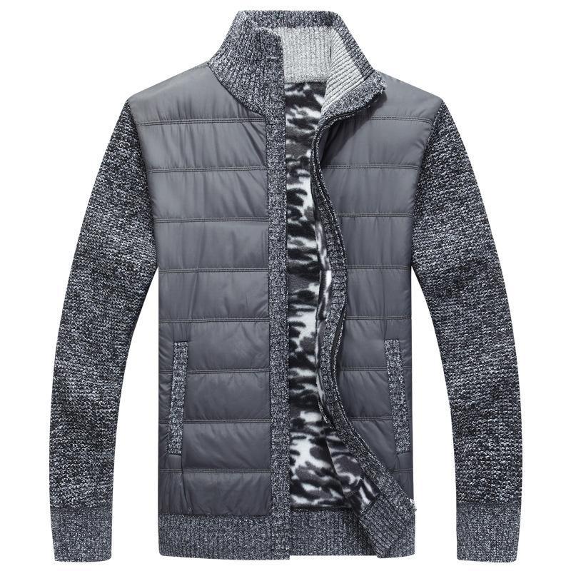 Зимний мужской флисовый свитер пальто толстая лоскутная шерсть кардиган мышц вязаные куртки модная мужская одежда для осени T200402