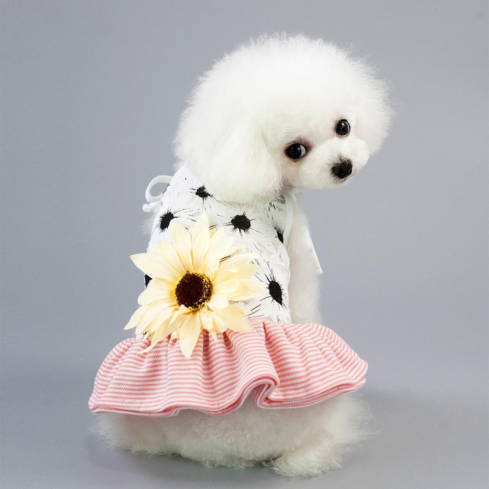Haustier Hund Bekleidung Streifen Sonnenblumenkleid Blume Mini Röcke Sommer Hunde Kleidung Schwarz Rosa