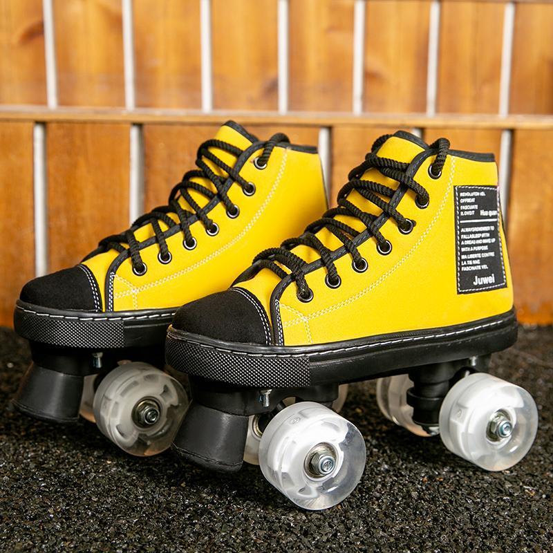 Patins à roulettes Chaussures de skate Vert Jaune Microfibre cuir patinage à roulettes Chaussures Enfants adultes Sport Roues Patines De 4 Ruedas