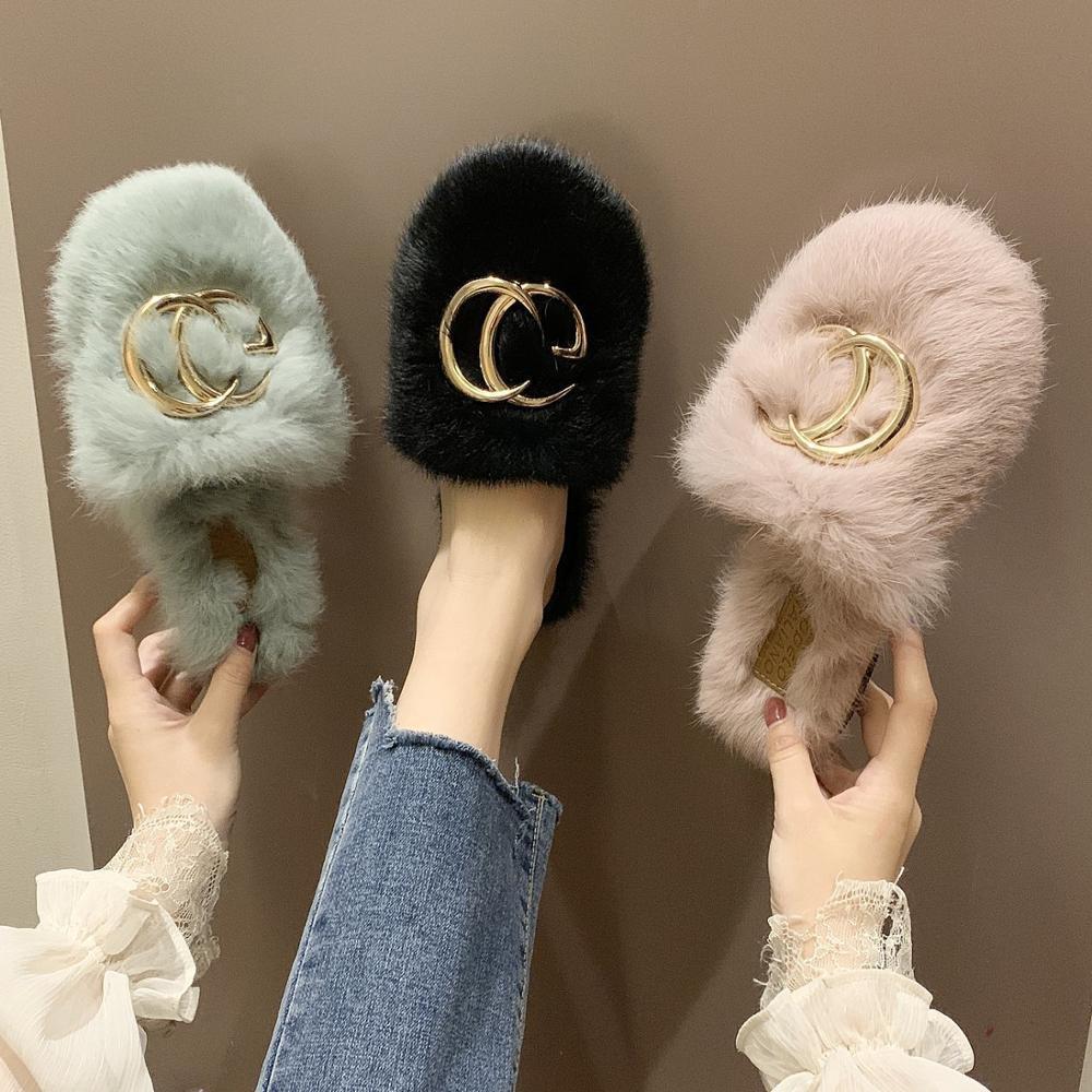 Зимние женщины дома тапочки из искусственного меха мода теплые туфли женщина скольжения на квартирах самки слайды черный розовый уютный дом пушистые тапочки x1020