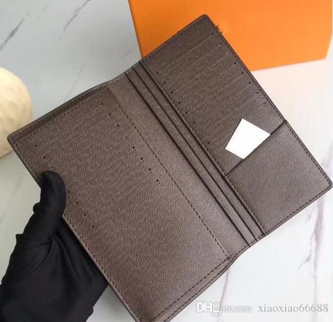 Бразза коричневая стильная коробка куртка длинный кошелек к клетку для мужских кошелька Реальные заметки в холдинг Изменить водонепроницаемые кредитные карты с кожей PDPF