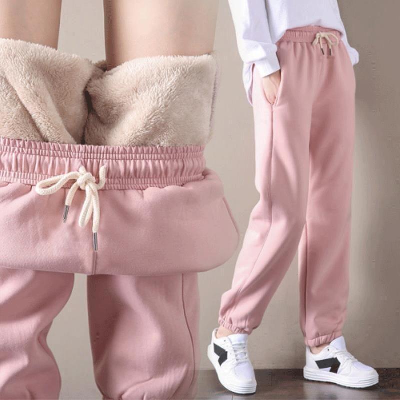 Pé largo casual solto cordeiro coreano morno mulheres extra grossa cashmere calças outono e inverno cintura alta
