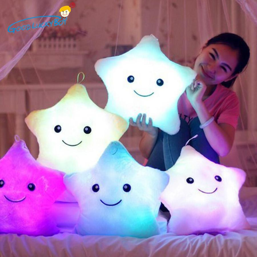 34cm kreative leuchtende gefüllte plüsch glühen spielzeug sterne kissen led helle bunte kissen spielzeug geburtstagsgeschenk für kinder kinder 201027