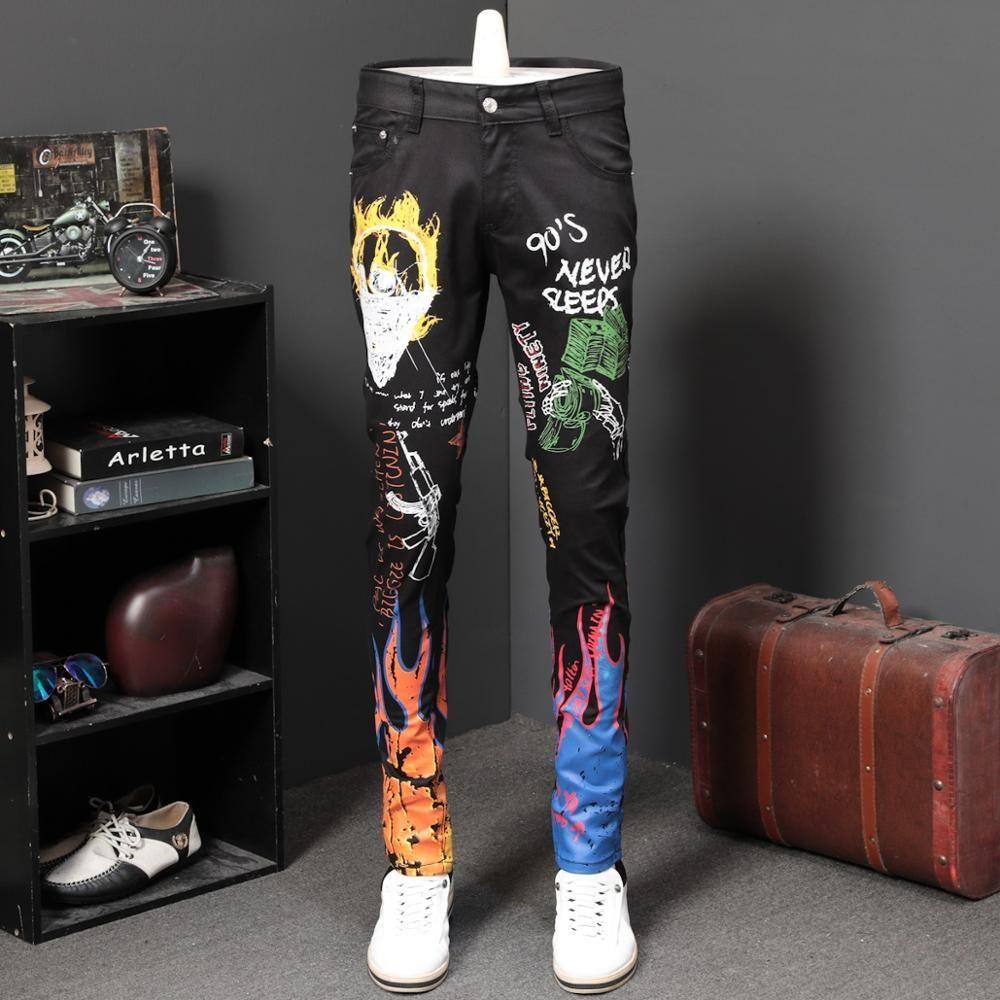 Herrenmode Buchstaben Flamme Weiß Schwarze Männer Slim Gedruckt Jeans Gerade farbige gemalte Stretch Hip Hop Hosen