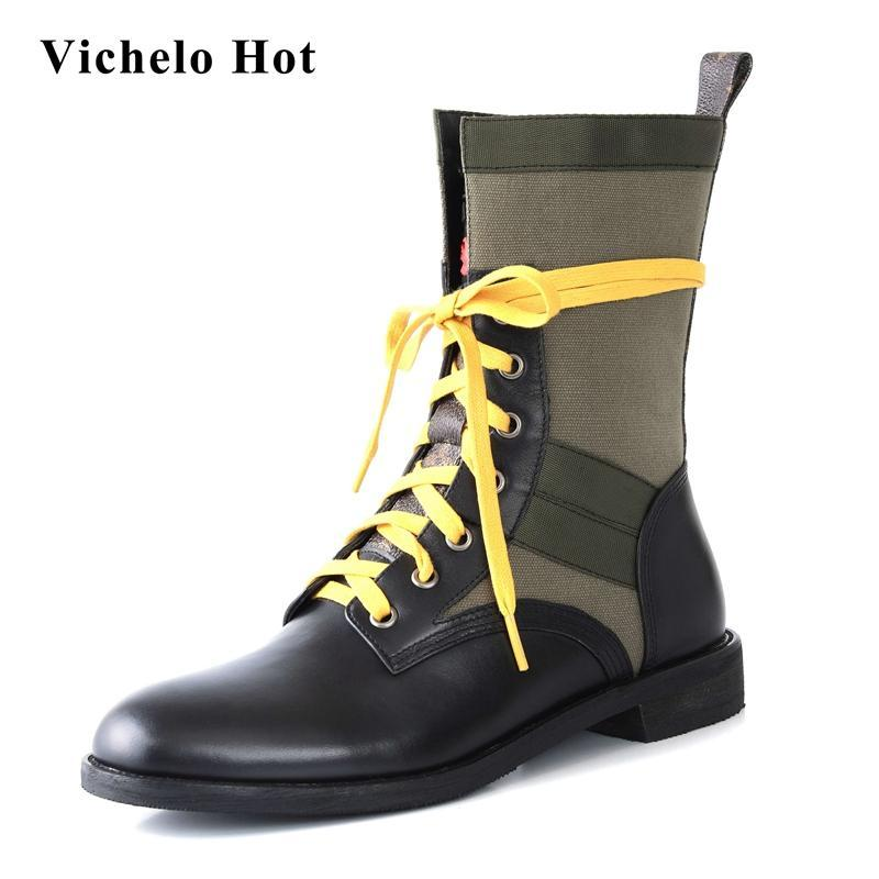 Vichelo Hot high quality natural leather mixed colors round toe thick low heel lace up british preppy style mid-calf boots L46