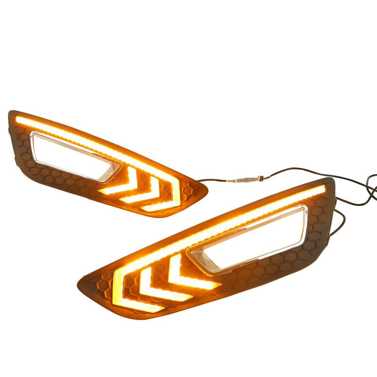 Para 2015 Ford Novo foco com luz amarela luzes de corrida diurna luzes de nevoeiro