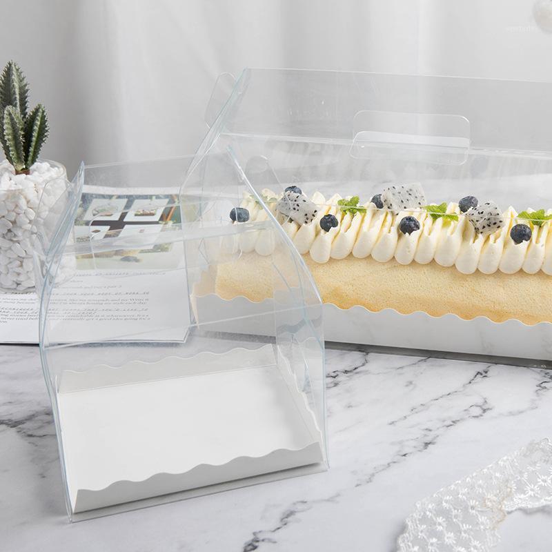 شفافة كيك لفة مربع التعبئة والتغليف مع مقبض صديقة للبيئة واضحة كعكة الجبن البلاستيك مربع الخبز سويسرية