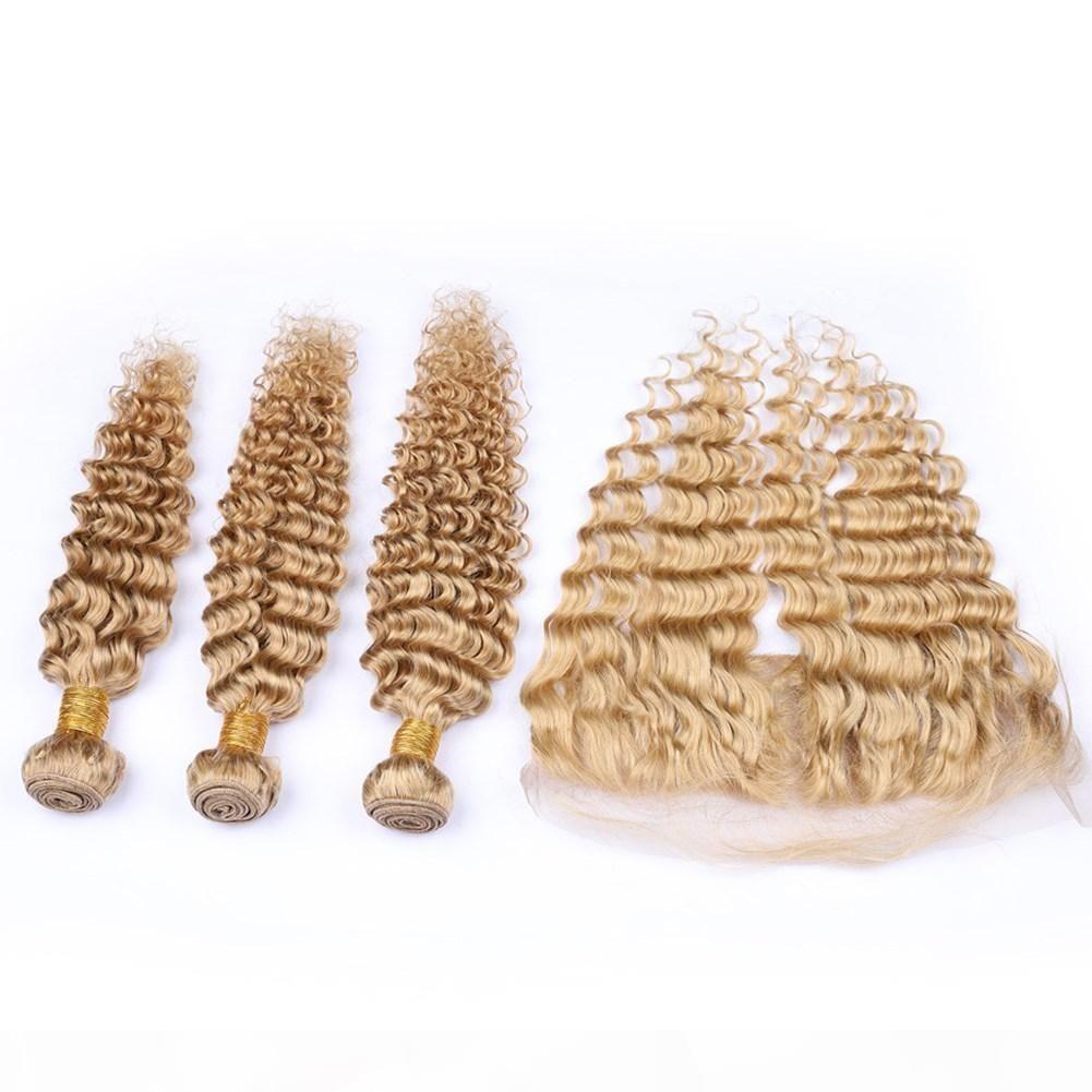 Capelli umani peruviani ondulati d'onda profonda I capelli umani Miele Blonde 3pcs Bundles con frontale # 27 Bionda fragola Blonde 13x4 Chiusura frontale in pizzo con tessi