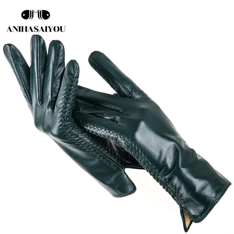 Einfache lederhandschuhe frauen, farbige echte frauen lederhandschuhe, echte lederhandschuhe der frauen, schaffell frauen handschuhe -2225 201225