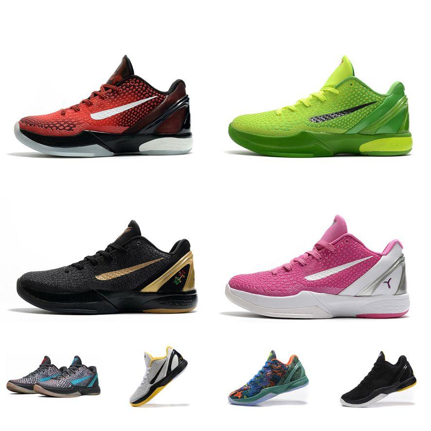 Для женщин KB6 Bryants 6S protro баскетбол обувь ZK6 Mamba Black Gold BHM Гринч желтого Брюс Ли CNY дети нового ZK-VI кроссовки тенниса с коробкой