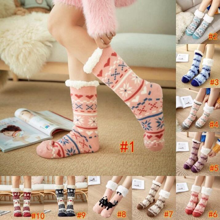 Warming Stocking Fashion Winter Cute Carpet Wool Thicken Thermal sleeping Warm Animal Sock Christmas Gift Socks DHB2542