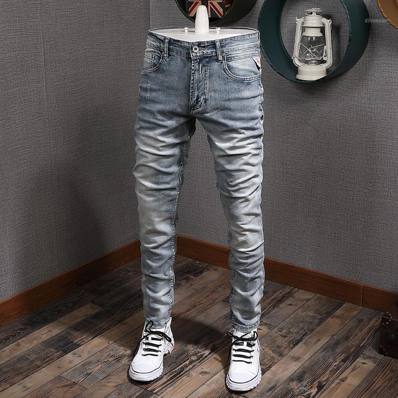 Italienische stil mode männer jeans hell blauer slim fit elastische vintage jeans männer klassische jeans hosen streetwear designer1