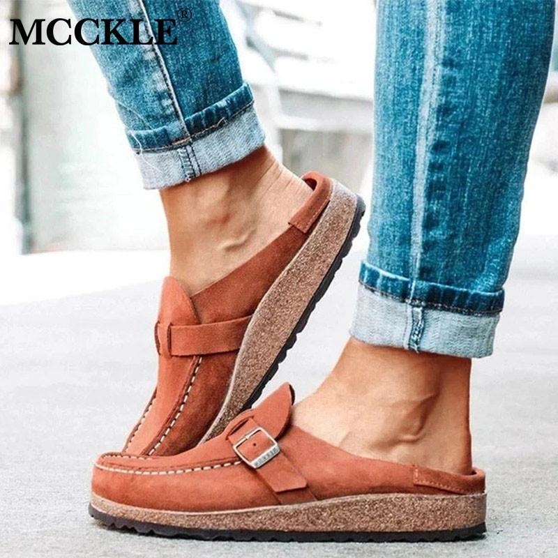 McCkle Verano Vintage Pisos Zapatos Mujer Costura Hebilla Casual Mocasines Color Color Damas Zapatos Slips Slip On Comfort Slippers C1103