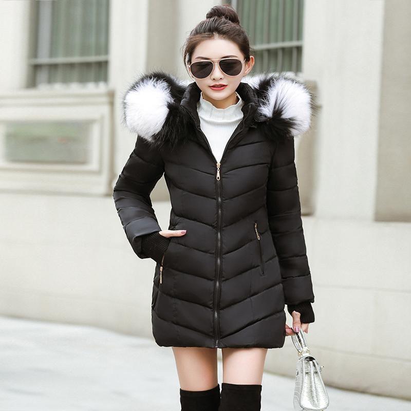2020Big manteau d'hiver de fourrure épaissi femmes parka coutures mince long manteau d'hiver vers le bas pour femmes en coton vers le bas des femmes veste parka