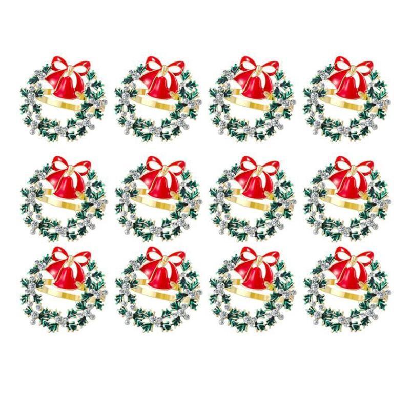 12 Pcs Christmas Wreath Napkin Ring Metal Napkin Buckle Diamond Ring Dinner Party Buckle