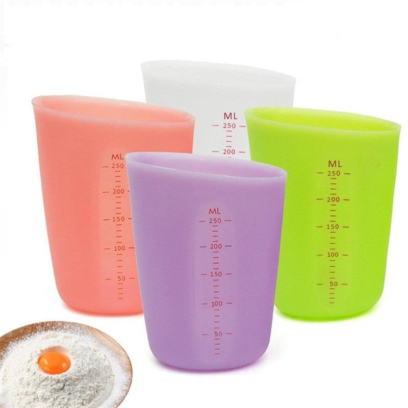 250ml Food Misuring Cup Semi-permeabile Silicone Doppi Silicone Misurazione Tazza graduata Beaker Cooking Cooking Cucina Strumento di misurazione Cucina 246 J2