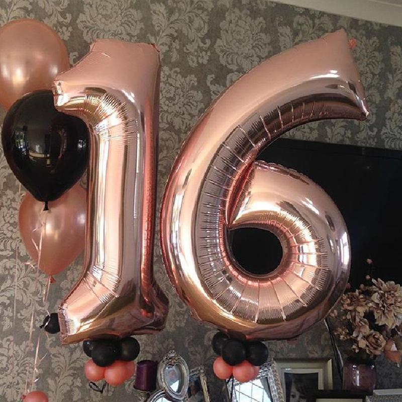40inch كبير روز الذهب الألومنيوم عدد البالونات احباط زفاف عيد الميلاد عيد الميلاد حزب ديكور الاطفال الأرقام 0-9 اللوازم Globos الكرة