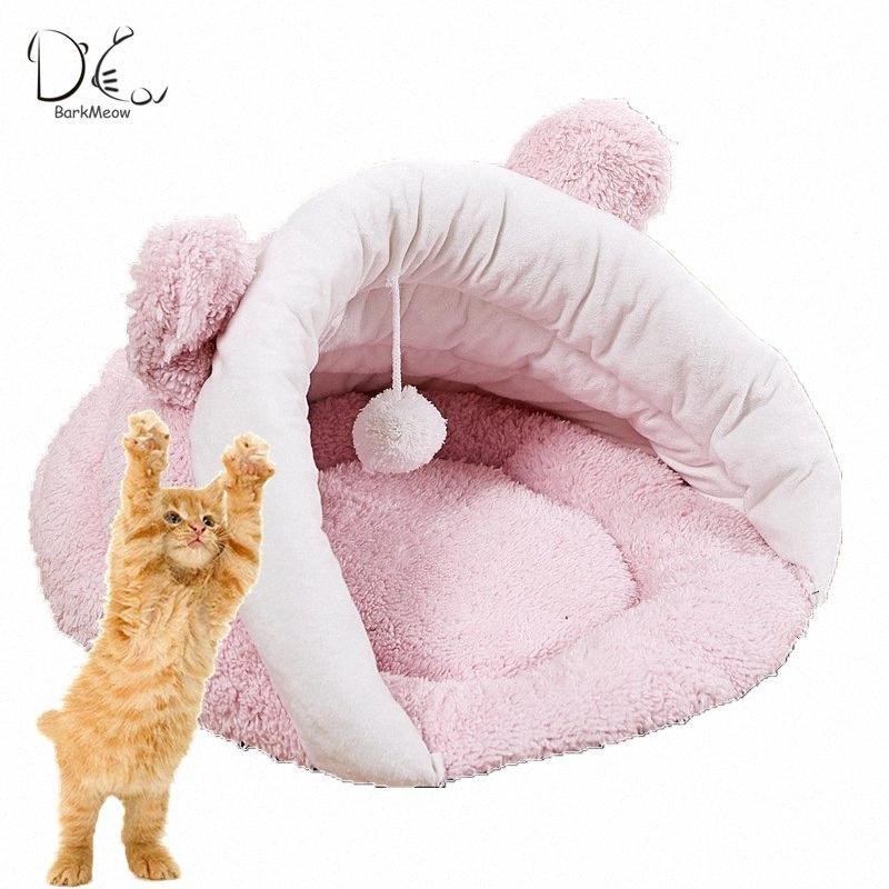 BarkMeow Pet Cat Bed House Mat Sleeping Bag Collapsible With Ball Pure Color High Quality Wool M/L For Medium large Cat BM021 8Jgn#