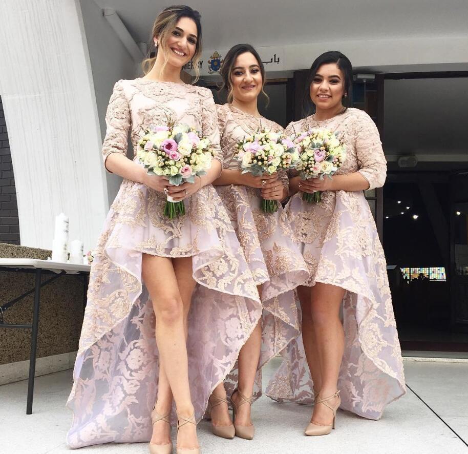 Jewel Boyun Ülke Boho Düğün Konuk Nedime Elbiseler Mütevazı Artı Boyutu Dantel 2020 Honories Formal Elbise Yüksek Düşük Yarım Kollu Hizmetçi
