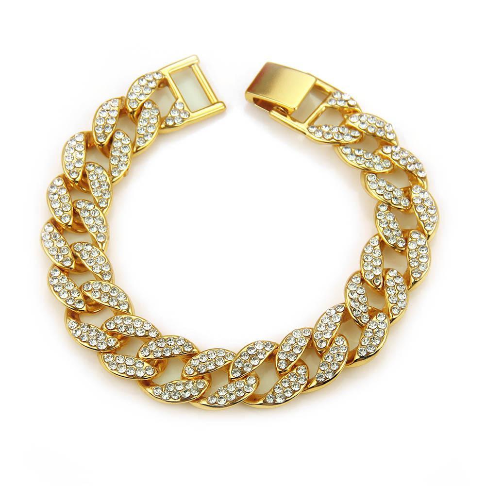Hiphop incrustée-hop-hop bracelets bracelet cubains sont très populaires en Europe et aux Etats-Unis pour les bracelets des hommes à la mode.