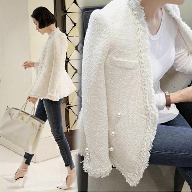 Zarachiel Brand Lady Inverno Perle Nappe Nappe Giacca in lana Cappotto Donne Vintage Casaco Femme Calda Giacca Tweed Elegante soprabito 201029