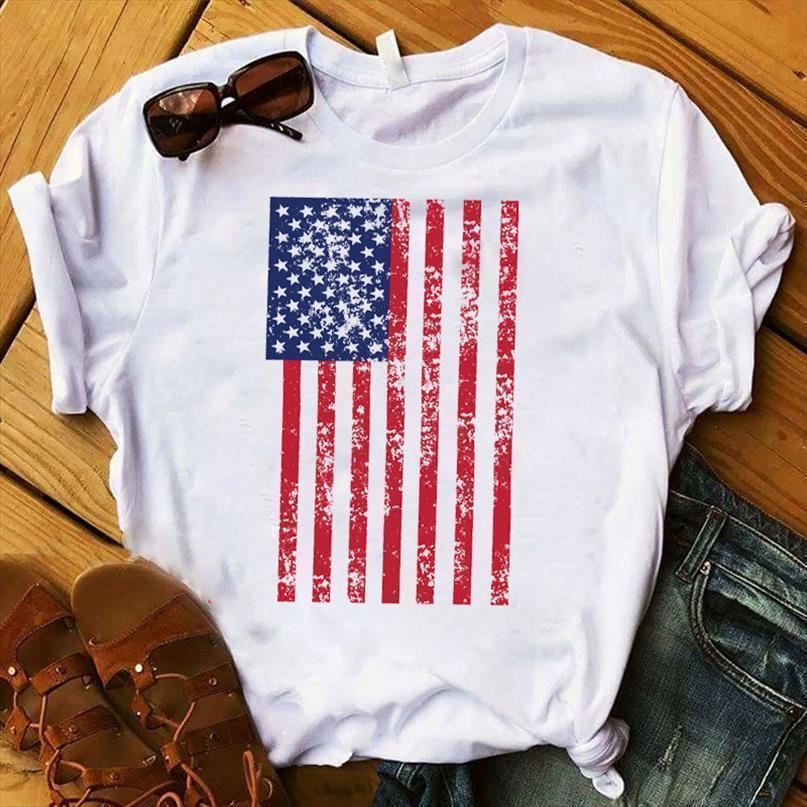 Женщины леди футболка американская рука флаг печать футболки женские с коротким рукавом свободная футболка женские женские топы одежда графическая футболка
